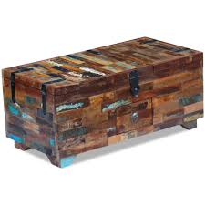 vidaxl coffee table desk box chest furniture solid reclaimed wood