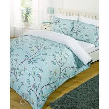 shabby chic bird tree bed set white teal blue duvet cover with