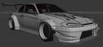 nissan silvia drawing nissan silvia s15 brill steel carbon 3d model in sport cars 3dexport