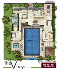 Home Plans With Courtyards U Shaped House Plans With Pool Contemporary House With Courtyard