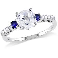 engagement ring sapphire miabella 2 3 8 carat t w created white sapphire 10kt white gold