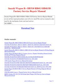 suzuki wagon r rb310 rb413 rb413d factory service repair manual