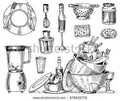 colander blender juicer dirty dishes jam stock vector 676626778