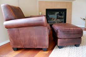 Small Leather Chair And Ottoman Lovely Distressed Leather Chair For Small Home Remodel Ideas With
