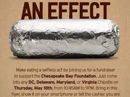 eat chipotle in virginia support chesapeake bay foundation