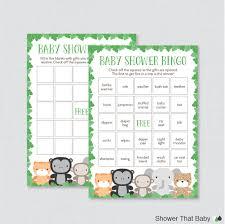 jungle theme baby shower bingo cards printable blank bingo