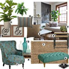 living room design board with natural elements neutral colors