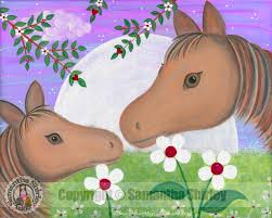 goodnight kiss girls pony u0026 horse kids art samantha shirley