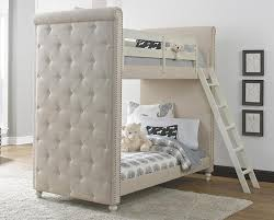 Bayshore Antique White Twin Over Twin Upholstered Bunk Bed - Upholstered bunk bed