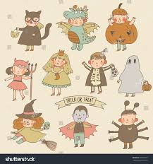 Pumpkin Princess Halloween Costume Vintage Cartoon Children Halloween Costumes Princess Stock Vector