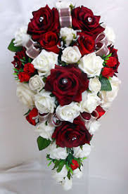 Burgundy Roses Teardrop Wedding Bouquet White And Burgundy Roses Ebay