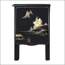 oriental chinoiserie furniture matt black side cabinet