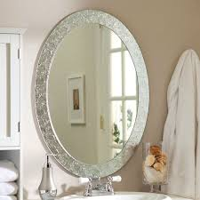 oval frame less bathroom vanity wall mirror with elegant crystal