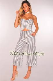 gray jumpsuit gray white striped strapless wide leg jumpsuit