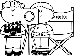 sledding coloring pages kids directing behind movie camera kids directing kids coloring