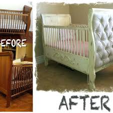 distressed paint job and upholstered sides transformed an old