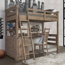 wooden loft bunk bed with desk bunk beds loft beds with desks wayfair