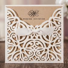 laser cut white hollow flora flower wedding invitations elegant