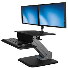 2 Monitor Computer Desk Sit Stand Workstation Dual Display Mount Startech Com