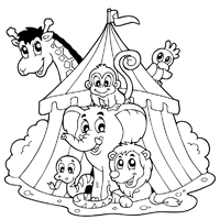 Circus Coloring Pages Surfnetkids Circus Coloring Page