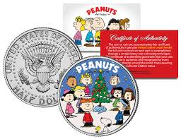 Charlie Brown And Christmas Tree - colorized coins and currency peanuts