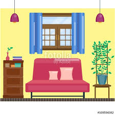 home interior vector living room interior with window and curtain comfortable