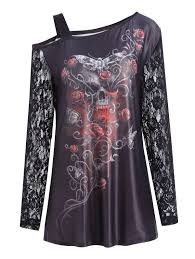 cold shoulder plus size halloween floral skull t shirt in black xl