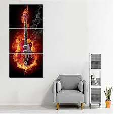 drop ship music art wall painting print black burning guitar pop