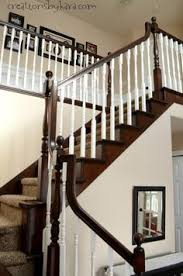 How To Refinish A Banister Painted Staircase Makeover With Seagrass Stair Runner Painted