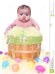 easter baskets for babies baby in easter basket royalty free stock photography image 19104237