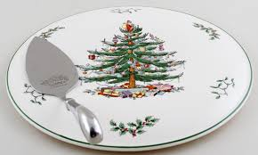 spode tree colour cake plate with server of