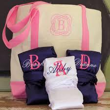 bridal party tote bags personalized satin silk bridesmaid robe tote bag set