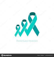 teal ribbon ovarian cancer teal ribbon awareness support emblem vector duotone