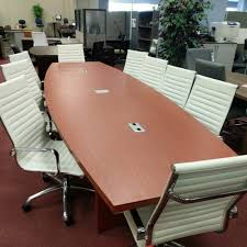 Boardroom Meeting Table 12 U2032 Ft Conference Table Light Cherry Wood Grain Boat Shaped
