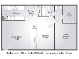 900 Sq Ft Apartment Floor Plan Apartment Floor Plans U0026 Pricing U2013 The Fairpointe At Gulf Breeze In