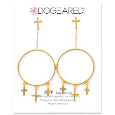 hoop earrings gold multi cross drop hoop earrings gold dipped dogeared