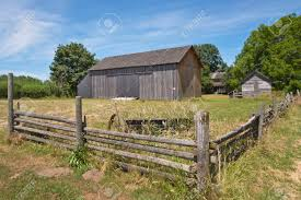 Valley Oregon Country Barn Fences And Trees Willamette Valley Oregon Stock