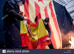 Barcelona Spain Flag Catalan Separatists Burn A Spanish Flag During The Celebrations Of