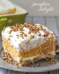 creamy and cool pumpkin delight with so many delicious layers