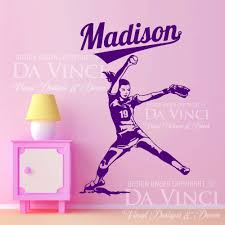 Vinyl Wall Stickers Custom 34 Softball Wall Decals Name Initial Sports Wall Decals Boy Child