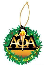 alpha phi alpha fraternity mascot wreath ornament mirror back 10 sq