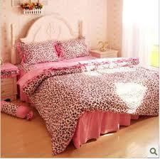 cotton pink leopard queen size bed set bedding set bed sheet