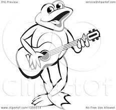 clipart of a cartoon black and white frog playing a guitar