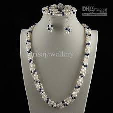 pearl size necklace images 2018 4row pearl jewelry set aa4 5mm white freshwater pearl lapis jpg