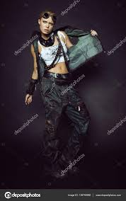 young woman in brutal futuristic clothes u2014 stock photo free0ne