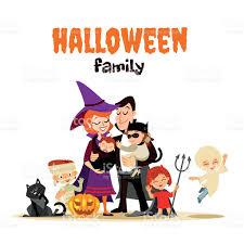 Free Halloween Vector Art Cute Cartoon Family In Various Halloween Costumes Celebrating Ha