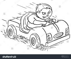 kid car drawing hand drawing vector cartoon boy driving stock vector 682769176