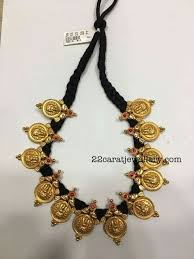 black gold necklace jewelry images Black thread lakshmi kasu necklace jewellery pinterest jpg