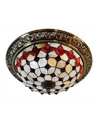 3 Light Ceiling Fixture Decorative 3 Light Stained Glass Flush Mount Ceiling Light