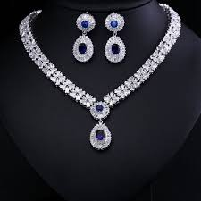 gold zirconia necklace images Luxury white gold color elegant shape bridal cubic zirconia jpg